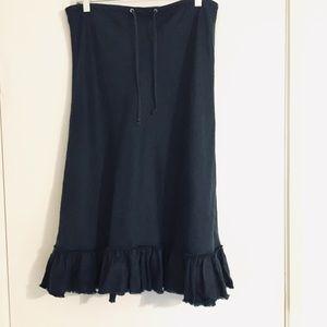 J. Crew navy linen drawstring raw hem skirt S